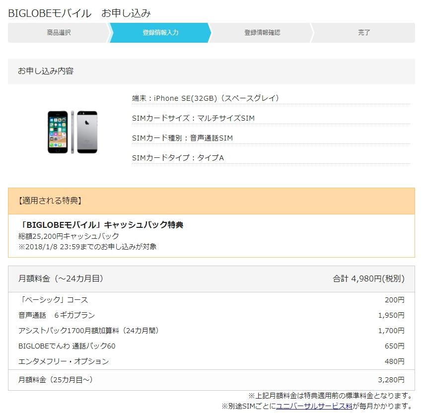 BIGLOBEモバイル新規契約申し込み11