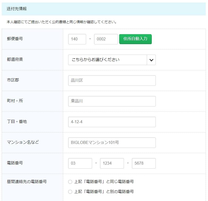 BIGLOBEモバイル新規契約申し込み13